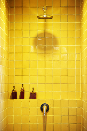 ceramic bottle: shower cabin with accessory