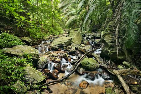 rocks water: waterfall in national park , Kanchanaburi , thailand