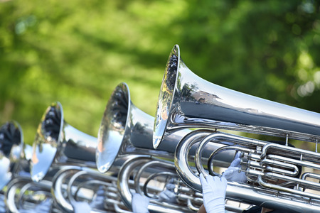 marching: Musician play marching Tuba Stock Photo