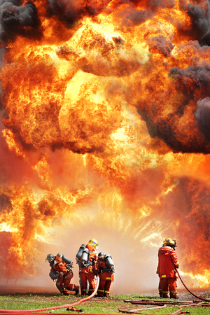 flame: Firefighters during training