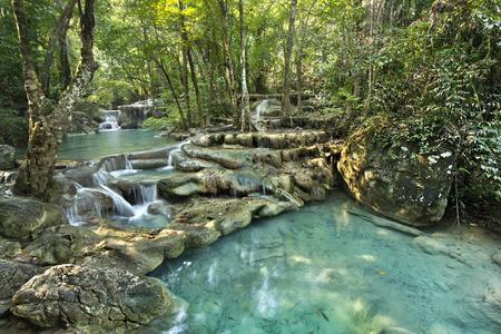gill: waterfall in Erawan national park , Kanchanaburi , thailand