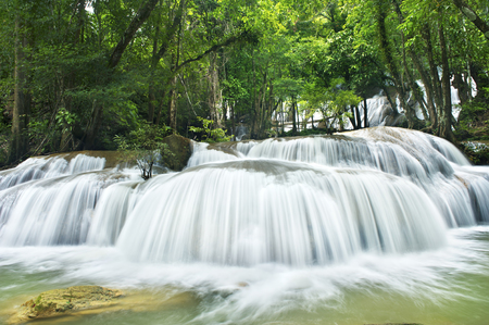 rill: waterfall in national park in rainy season, Kanchanaburi , thailand