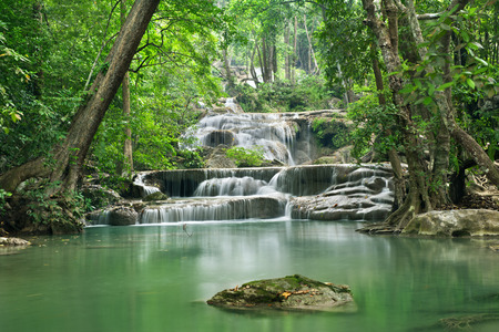 rill: waterfall in Erawan national park , Kanchanaburi , thailand