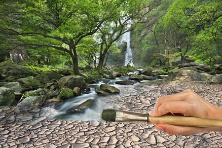 rill: Hand hold brush paint waterfall