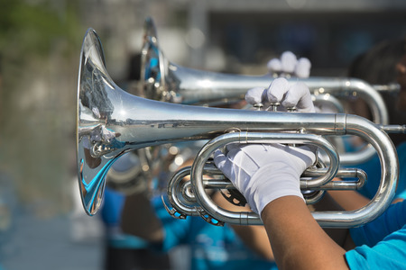Musician play marching trumpet Stock Photo