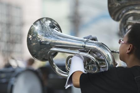 Musician play marching Tuba Stock fotó