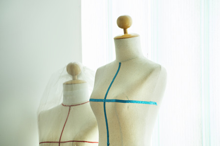 ladies bust: Close up of fabric dummy on background Stock Photo