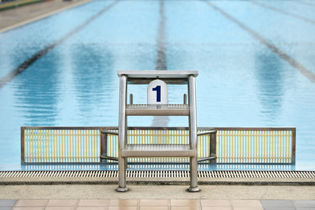 swimming race: Starting platforms with numbers for swimming race
