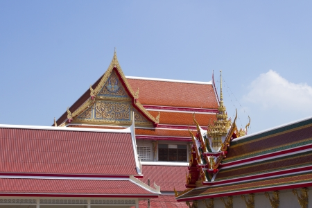 roof temple in Thailand with blue sky  photo