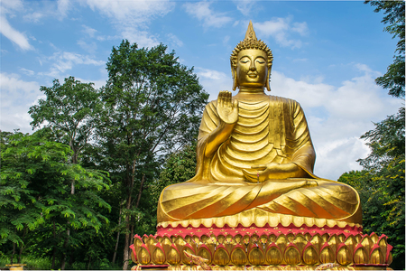 religious art: Big Buddha, which is a source of religious art and cultural beauty.This is public domain at Wat Sirindhorn Ubonrachathani Province Thailand. Stock Photo