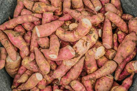 batata: Pilas de batata.