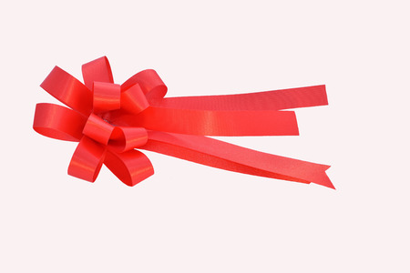 frost bound: Red Ribbon Satin Bow Isolated on white  background.