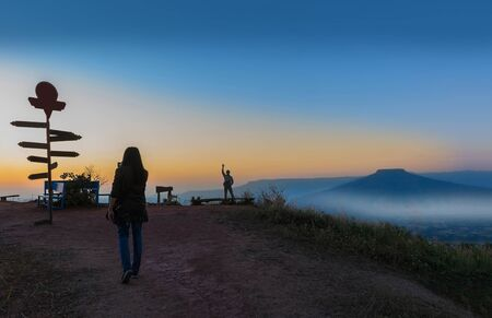 Silhouette sunrise the viewpoint at the mountain in the Phu Pa por at Loei province, Thailand fuji mountain. Imagens