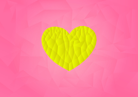 yellow heart: polygon yellow heart icon with pink background, illustration, copy space for text