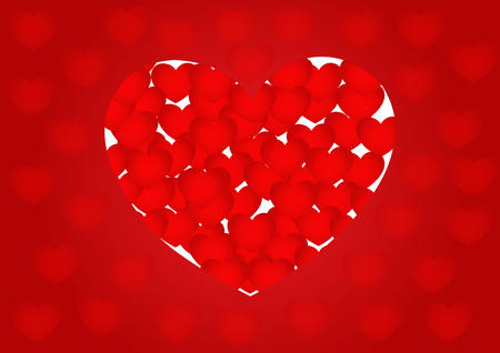 red heart background,  illustration, copy space for text, valentine day, cover paper, landscape, paper cut and origami style