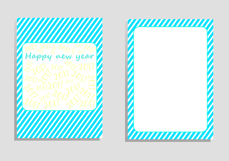 orientation: happy new year 2017 card, illustration, copy space for text, editable template, cover paper, brochure, vertical orientation, blue and green shade, yellow word 2017 on white background Illustration