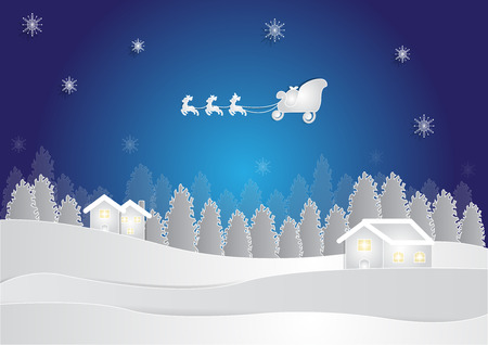 winter season at night background with house and snow in forest on blue background, christmas background, copy space for text, illustration, paper cut and origami style Illustration