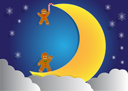 ginger bread: ginger bread with big moon and cloud background, christmas background,  copy space for text, illustration, paper art and origami style