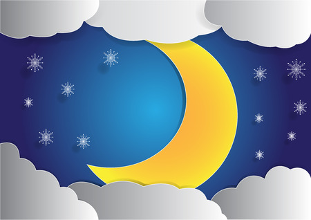 night moon: big moon and cloud background in the night sky, christmas background,  copy space for text, illustration, paper art and origami style Illustration
