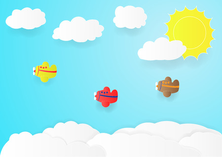 plane fly in sky with cloud, copy space for text, illustration, paper art and origami style, children book cover Illustration