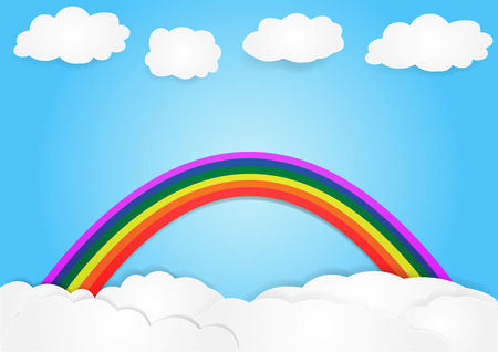 rainbow on cloud,  copy space for text, illustration, paper art and origami style, children book cover Illustration