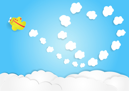 plane fly in sky with cloud in heart shape, copy space for text, illustration, paper art and origami style Illustration