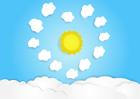 cloud with sky background, copy space for text, illustration, paper art and origami style