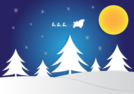 reindeer on sky with tree, christmas background, copy space for text, illustration, paper art and origami style