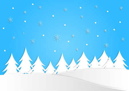 winter season background with snow and many tree on blue background, christmas background, vector, copy space for text, illustration, paper art and origami style