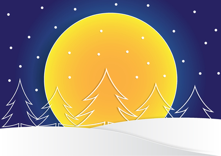 line made christmas tree shape and star on top of the tree with big moon on background, christmas background, vector, copy space for text, illustration, paper art and origami style