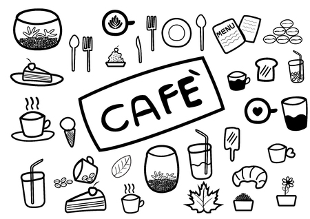 caf: abstract hand draw doodle line in coffee and food caf? concept on white background, vector, illustration, cartoon style