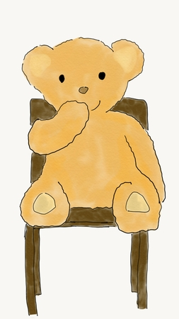feel good: hand draw doodle brown bear doll sitting on brown wood chair, illustration, watercolor style Stock Photo