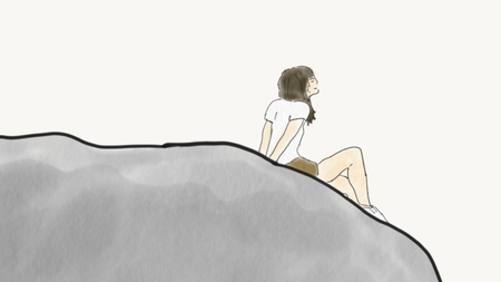 hand draw doodle woman sitting on cliff isolated and look at the sky, copy space for text, illustration, watercolor style