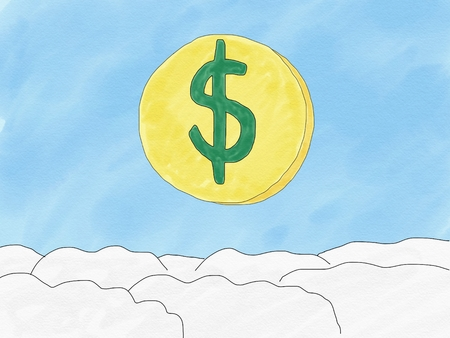 Abstract hand draw doodle dollar coin on sky background, weak of dollar currency concept, illustration, copy space for text, watercolor paint style, children cartoon book style