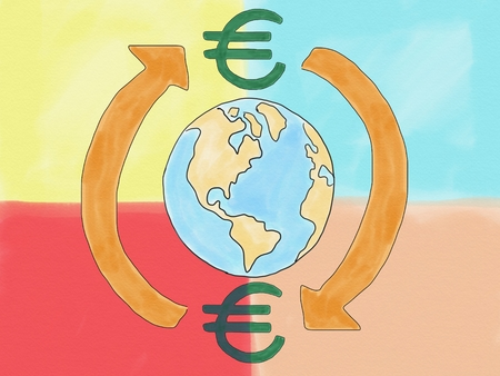 Abstract hand draw doodle euro currency sign transfer around world concept on colorfull background, illustration, copy space for text, watercolor paint style, digital art, children cartoon book style