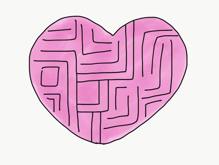 Abstract hand draw doodle maze of heart isolate, illustration, copy space for text, watercolor paint style, children cartoon book style