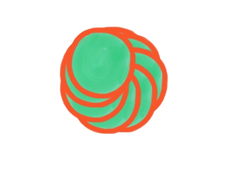 soft-color vintage pastel abstract watercolor circle logo background isolate with colored (shades of orange and green color), illustration, copy space for text