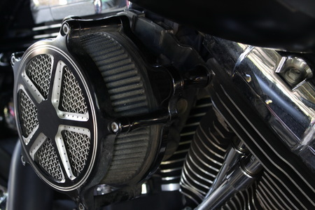 Close up  Air filter in the motorcycle