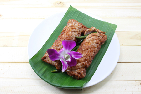 asian food: Fermented fish on banana leaf