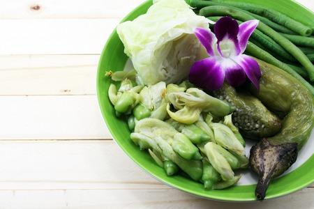 boiled: Thai boiled vegetables Stock Photo