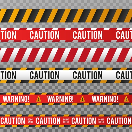 Police line and danger tape. Caution tape isolated on transparent background. Vector illustration.