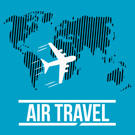 World map with routes airplane air travel. vector illustration Illustration