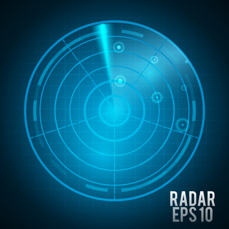 Realistic blue radar screen with targets in process, illustration .