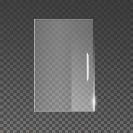shopfront: Transparent glass door isolated on transparent background. Vector illustration Illustration