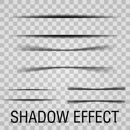 Paper Set sheet shadow effect. Vector transparent realistic shadows. Illustration