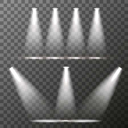night club interior: Scene illumination, Bright lighting with spotlights on transparent background. vector illustration