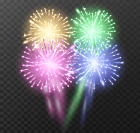 blue flame: Color firework background. Vector illustration.