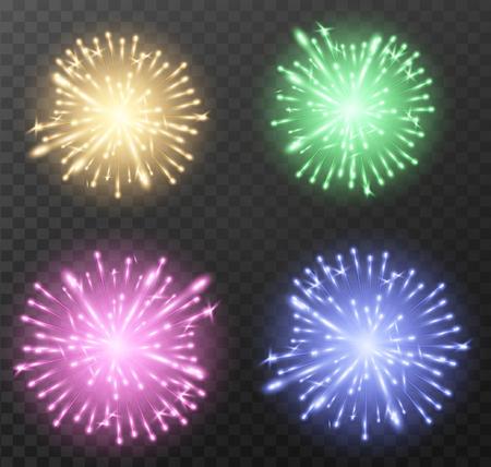 Set of color firework background. Vector illustration.