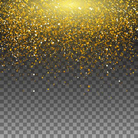 Gouden glitter deeltjes achtergrond effect voor luxe groet rijke kaart. Vectorillustratie