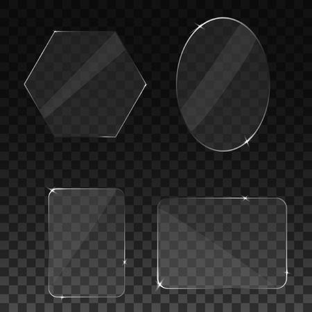 Set transparant glas op voorbeeld achtergrond. Vector illustratie. Stock Illustratie